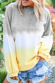 Allovely Color  Gradient Long Sleeve T Shirt