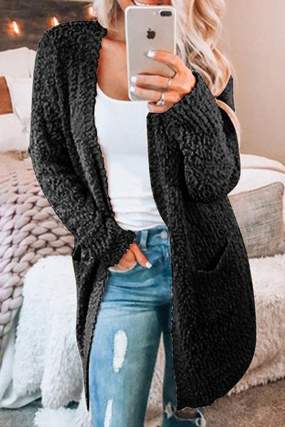 Allovely Plain Pockets Knitted Cardigan