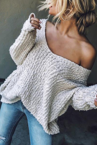Allovely Solid Slash Neck Sweater