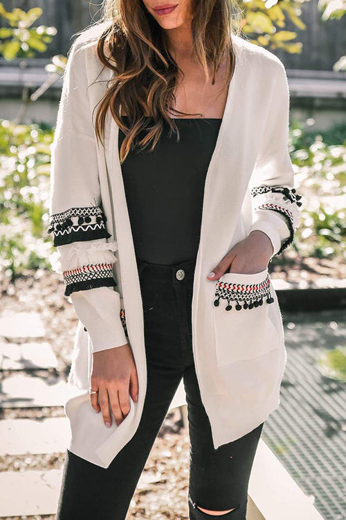 Allovely Bohemian Stitching Tassel Long Cardigan