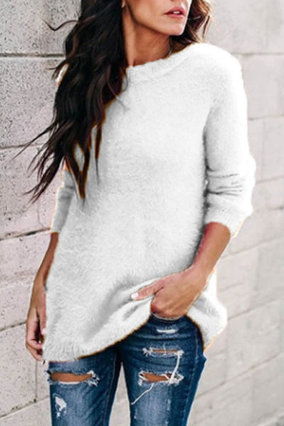 Allovely Solid Color O Neck Pullover Sweater