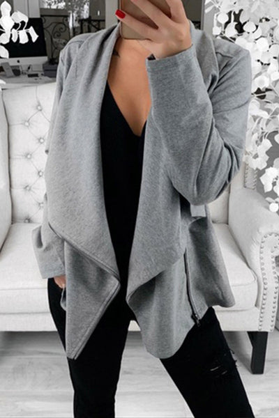 Allovely Irregular Zipper Solid Color Cardigan