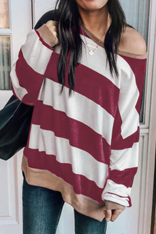Allovely Slash Neck Striped Long Sleeved T Shirt