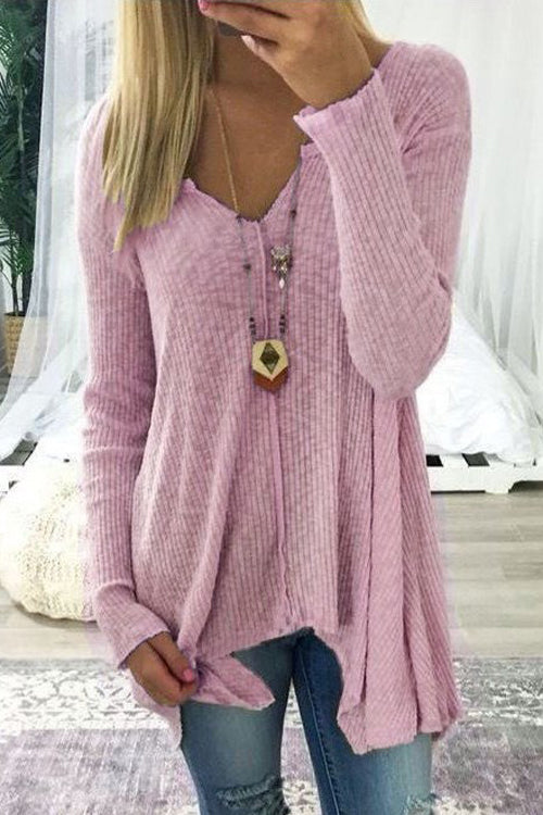 Allovely Long Sleeve V Collar Loose Blouse