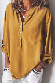 Allovely Solid Color Loose V Collar Blouse