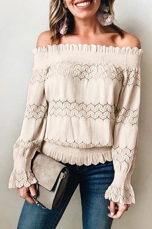 Allovely Off Shoulder Ruffle Blouse(6 Colors)