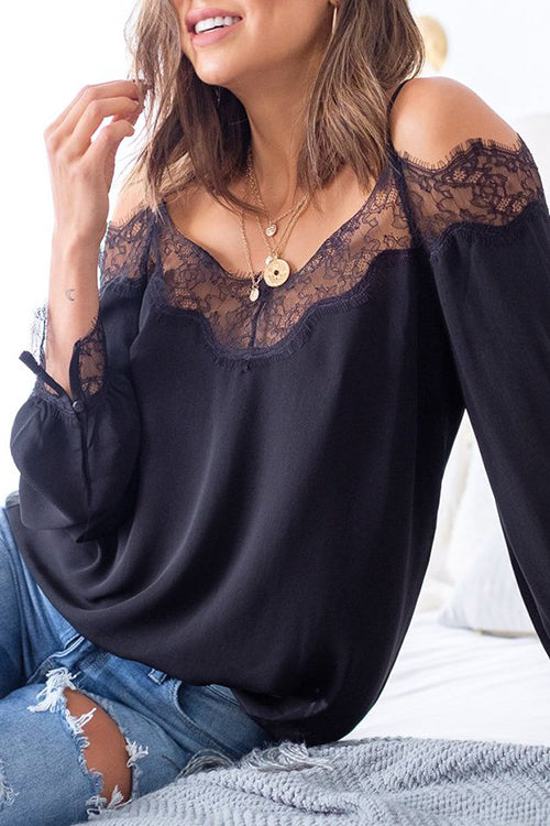 Allovely Lace Patchwork Black Blouse