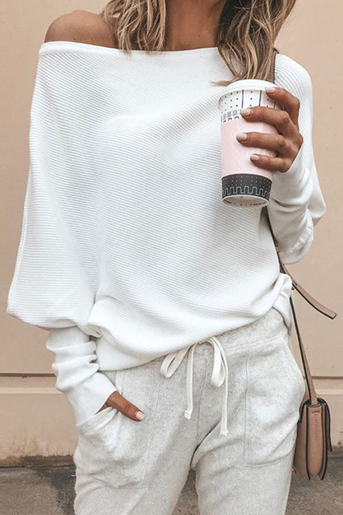 Allovely Slash Neck Bat Sleeve Sweater