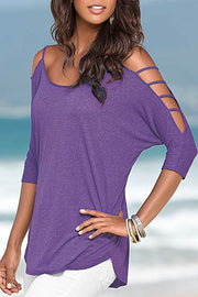 Allovely Round Neck Strap Hollow T shirt