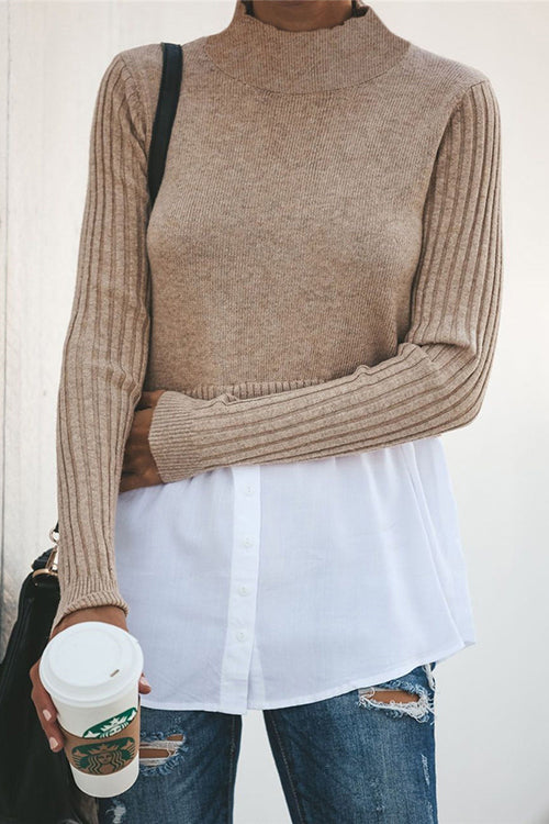 Allovely Fabric Stitching Long Sleeve Sweater