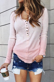Allovely V Neck Gradient Long Sleeve T shirt