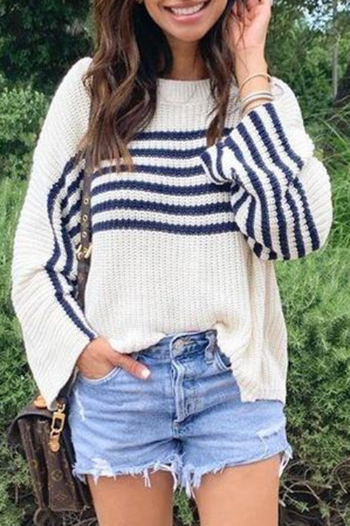 Allovely Striped Long Sleeve Sweater