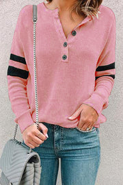 Allovely Button Striped Sleeve T Shirt
