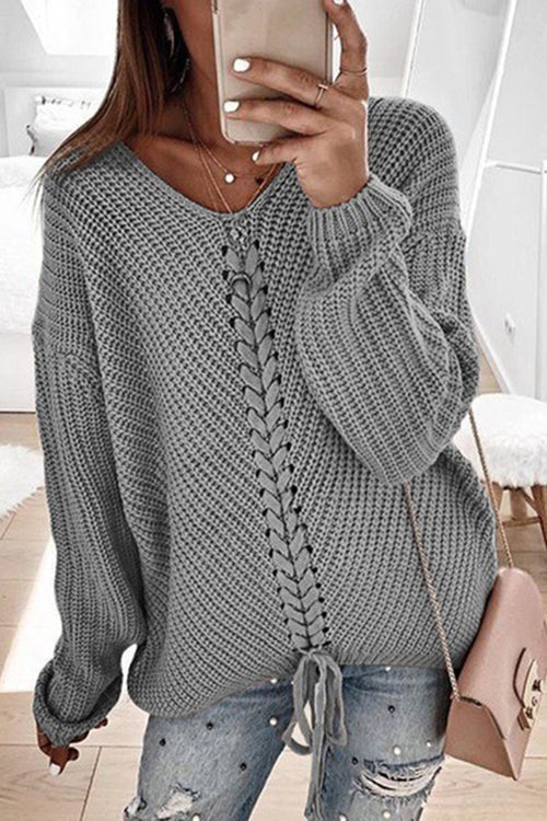 Allovely V Neck Tie Knit Sweater
