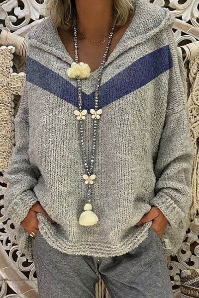 Allovely V Neck Hooded Sweater