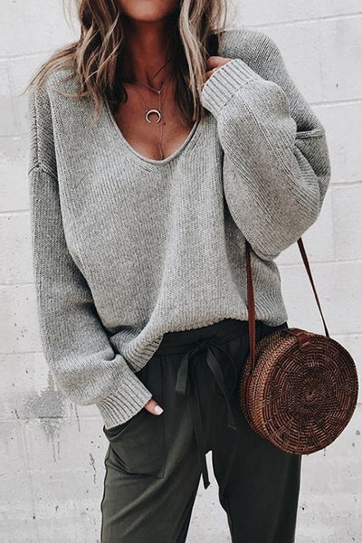 Allovely V Neck Loose Long Sleeve Sweater