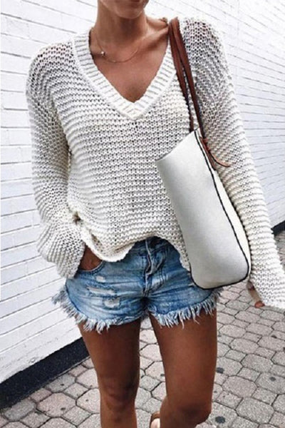 Allovely V Neck Knit Long Sleeve Sweater