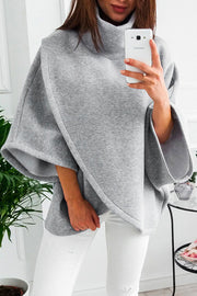 Allovely High Collar Irregular Hem Cloak Coat