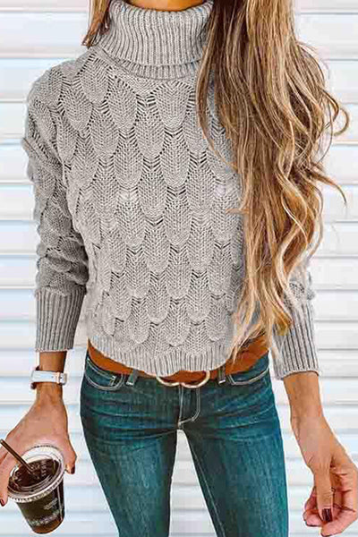Allovely High Collar Scale Pattern Sweater