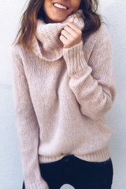 Allovely High Collar Solid Color Sweater