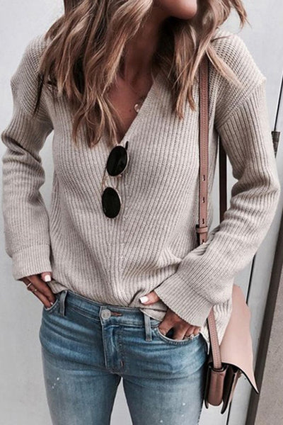 Allovely V Neck Long Sleeve Sweater