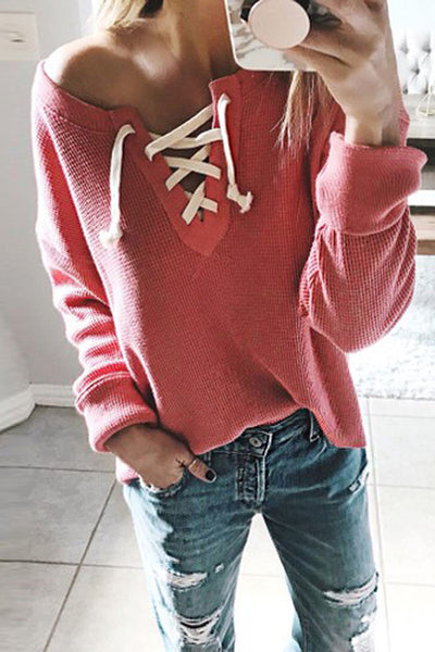 Allovely Long Sleeve Tie Sweatshirt