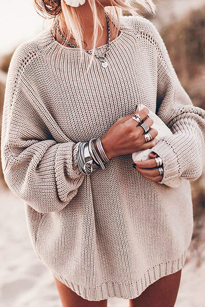 Allovely Round Neck Loose Long Sleeve Sweater