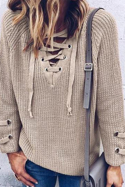 Allovely Casual Long Sleeve Front Cross Sweater