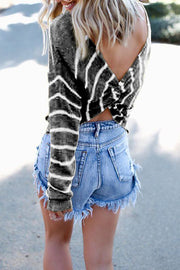 Allovely Back Irregular Striped Sweater
