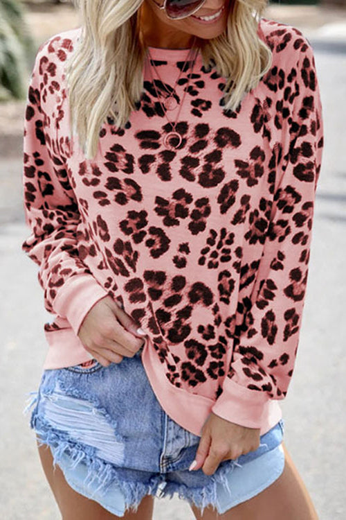 Allovely Round Neck Leopard Long Sleeve Sweatshirt