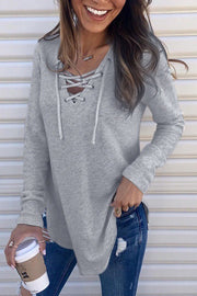 Allovely V Neck Bandage Long Sleeve T-Shirt