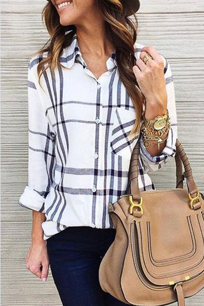 Allovely Long Sleeve Plaid Patch Shirt