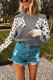 Allovely Arm Leopard Pattern Long Sleeve Sweater