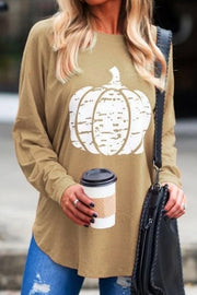 Allovely Round Neck Pumpkin Print Long Sleeve Top