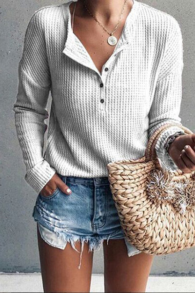 Allovely Round Neck Button Knit Shirt