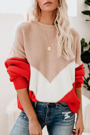 Allovely Contrast Long Sleeve Sweater