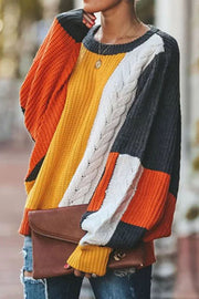 Allovely Contrast Bat Sleeve Sweater