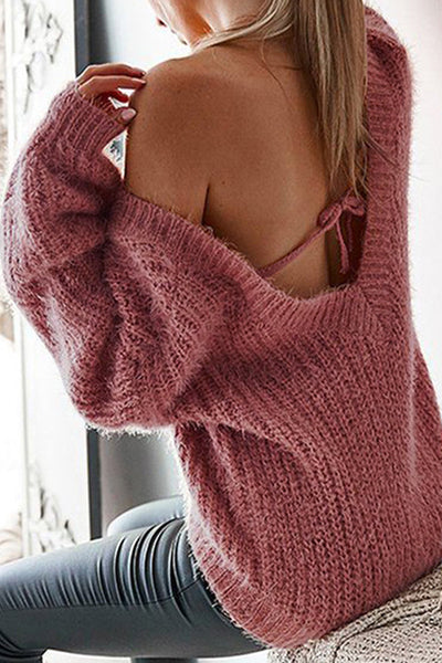 Allovely Open Back Strap Sweater