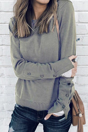 Allovely Cuff Slit Button Sweatshirt