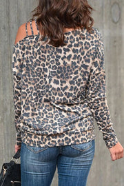 Allovely Cold Shoulder Leopard Print T Shirt&Jeans