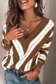 Allovely V Neck Long Sleeve Striped Sweater(5 Colors)