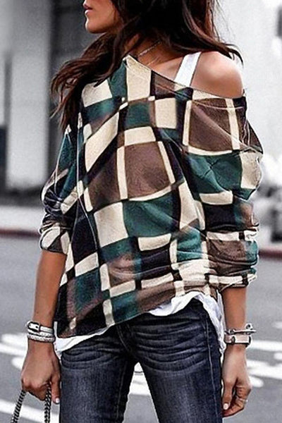 Allovely Slanted Shoulder Plaid Sweatshirt