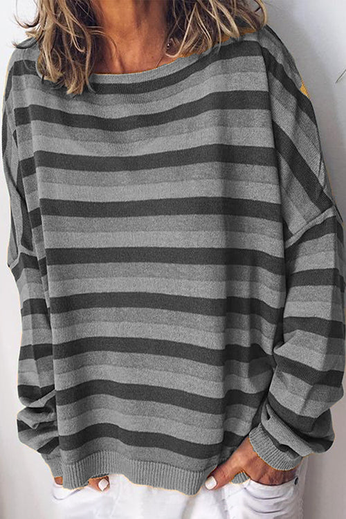 Allovely Stripe Print Long Sleeve T-Shirt(6 Colors)