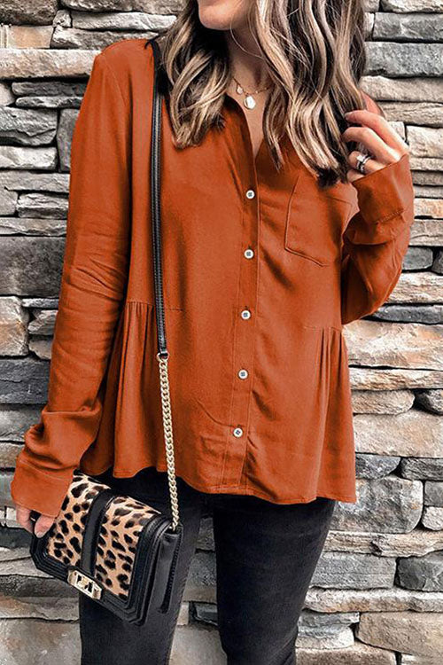 Allovely Loose Pumpkin Color Shirt