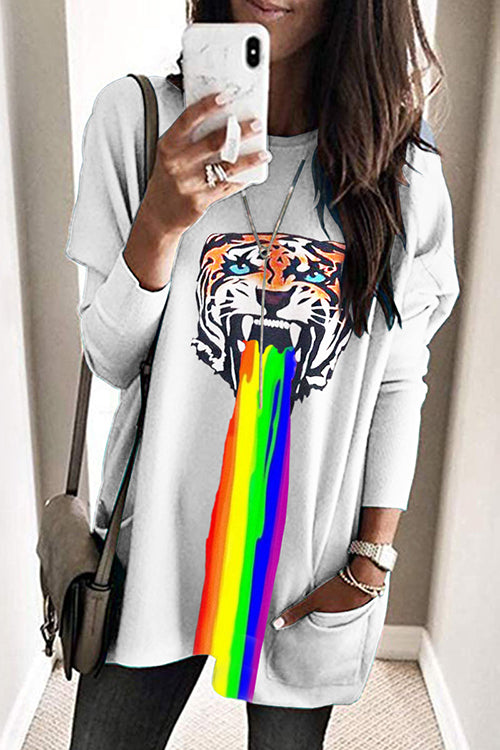 Allovely Tiger Printed Long Sleeve Sweatshirt