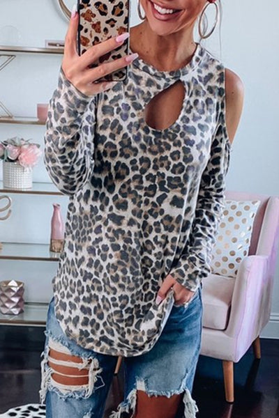 Allovely Openwork Shoulder-exposed Leopard T-shirt