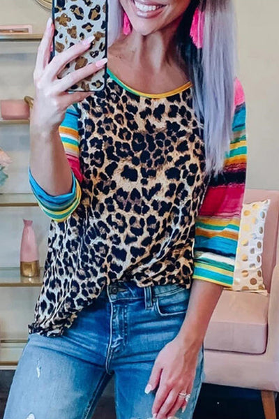 Allovely Colorful Leopard T-shirt