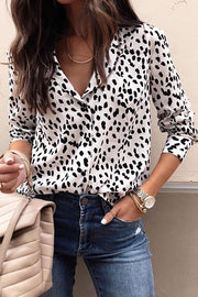Allovely Leopard Print Chiffon Blouse