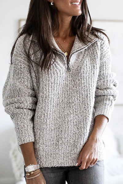 Allovely Zipper Pullover Sweater