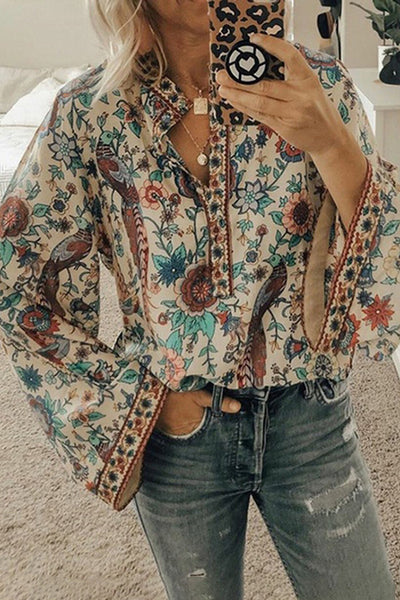 Allovely Bohemian Flare Sleeve Shirt